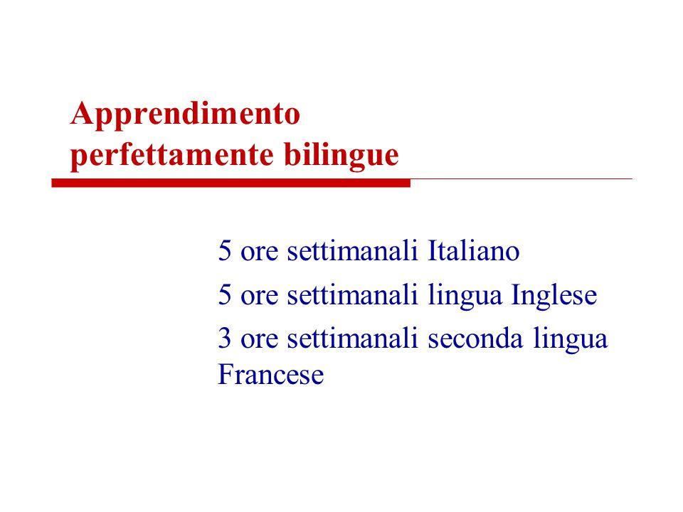 Apprendimento perfettamente bilingue 5 ore settimanali Italiano 5 ore settimanali lingua Inglese 3 ore settimanali seconda lingua Francese