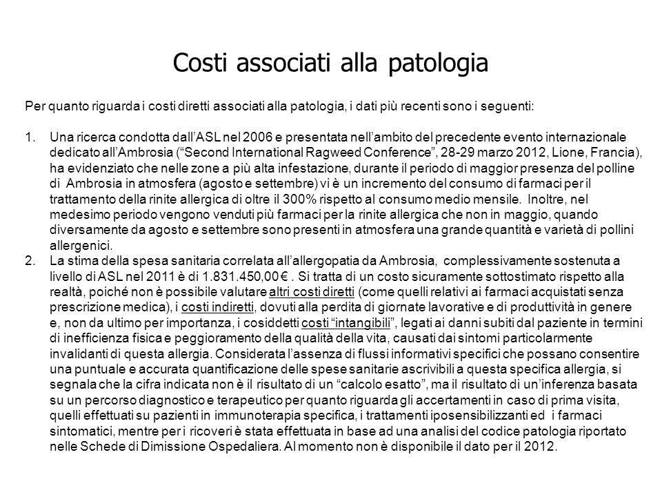 Costi associati alla patologia Per quanto riguarda i costi diretti associati alla patologia, i dati più recenti sono i seguenti: 1.Una ricerca condott