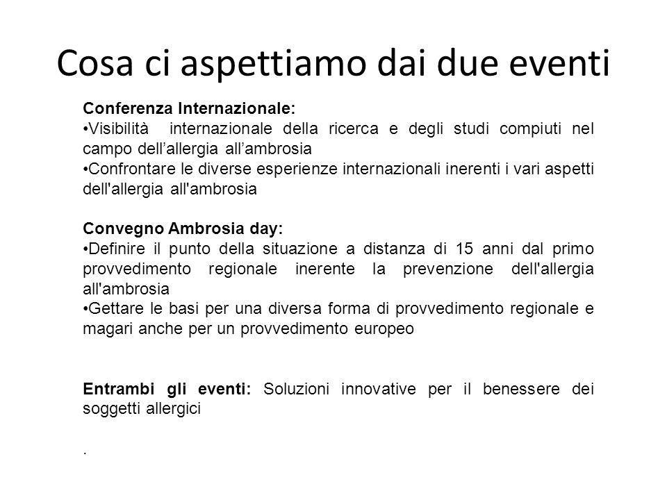 Cosa ci aspettiamo dai due eventi Conferenza Internazionale: Visibilità internazionale della ricerca e degli studi compiuti nel campo dell'allergia al