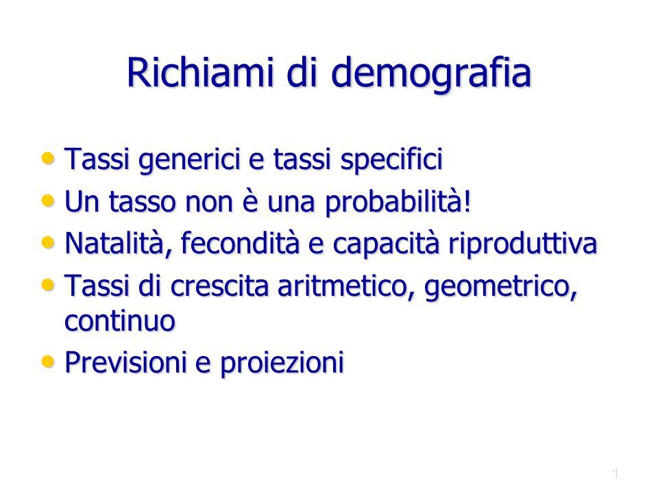 Richiami di demografia Tassi generici e tassi specifici Tassi generici e tassi specifici Un tasso non è una probabilità! Un tasso non è una probabilit