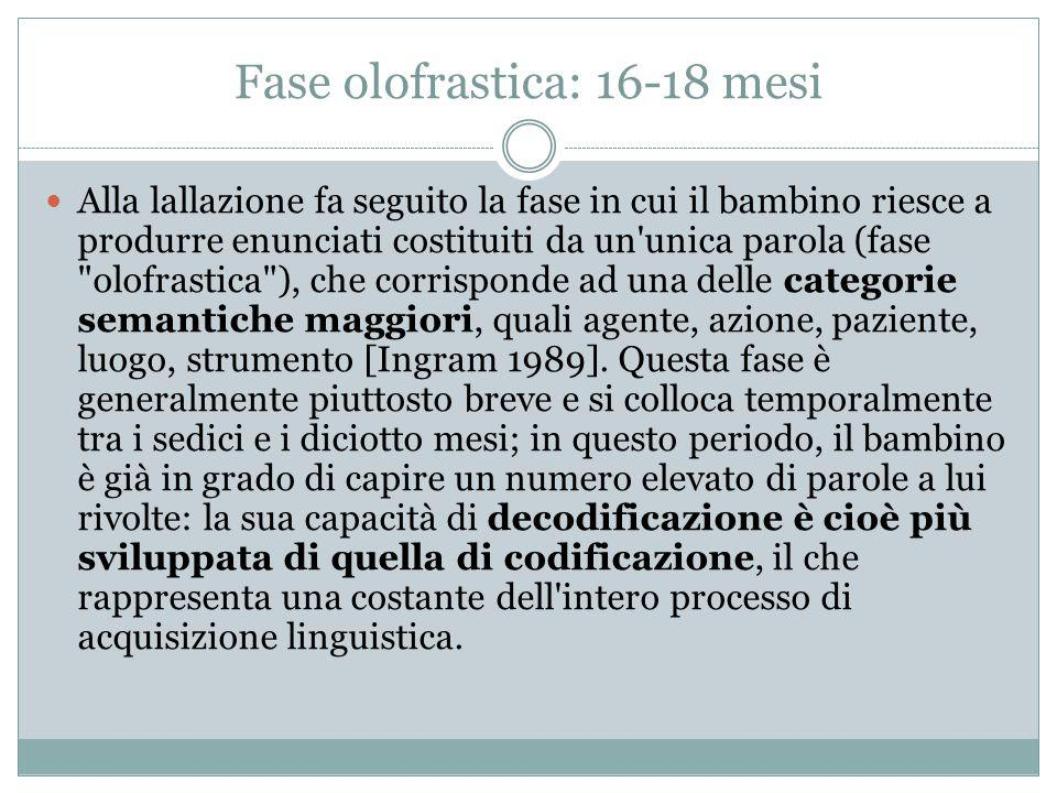 Fase olofrastica: 16-18 mesi Alla lallazione fa seguito la fase in cui il bambino riesce a produrre enunciati costituiti da un'unica parola (fase