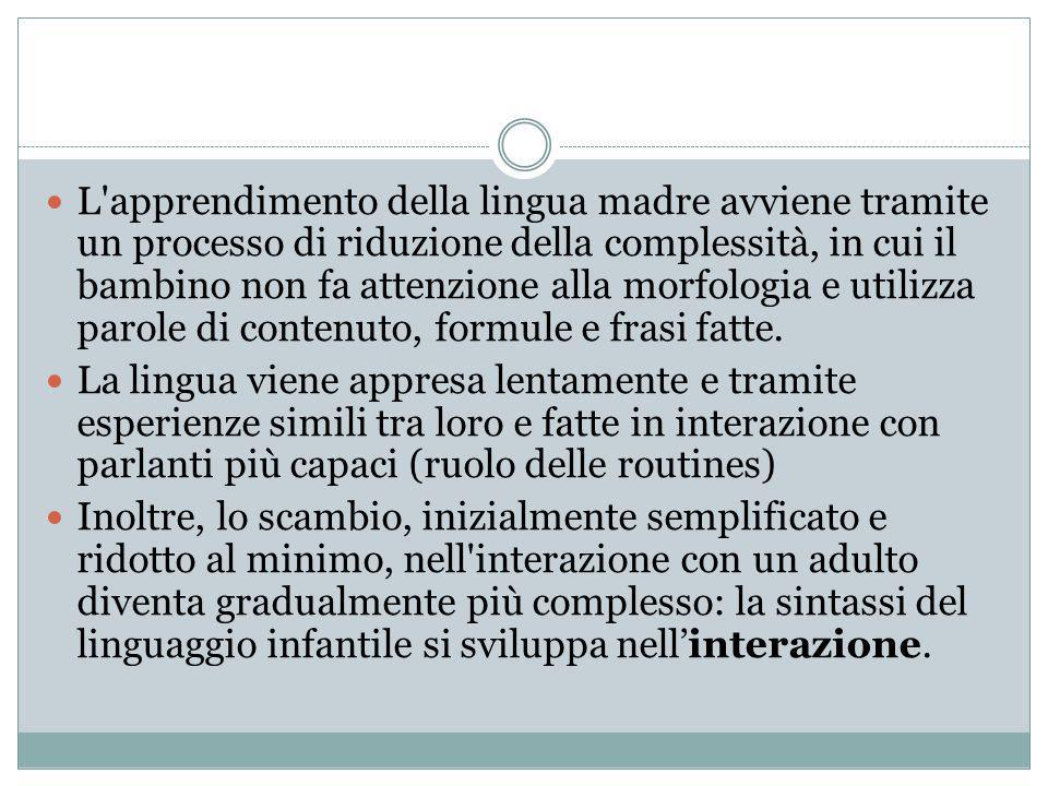 L'apprendimento della lingua madre avviene tramite un processo di riduzione della complessità, in cui il bambino non fa attenzione alla morfologia e u