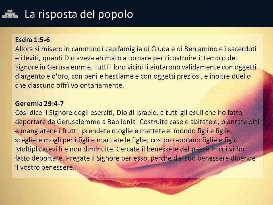 La risposta del popolo Esdra 1:5-6 Allora si misero in cammino i capifamiglia di Giuda e di Beniamino e i sacerdoti e i leviti, quanti Dio aveva anima