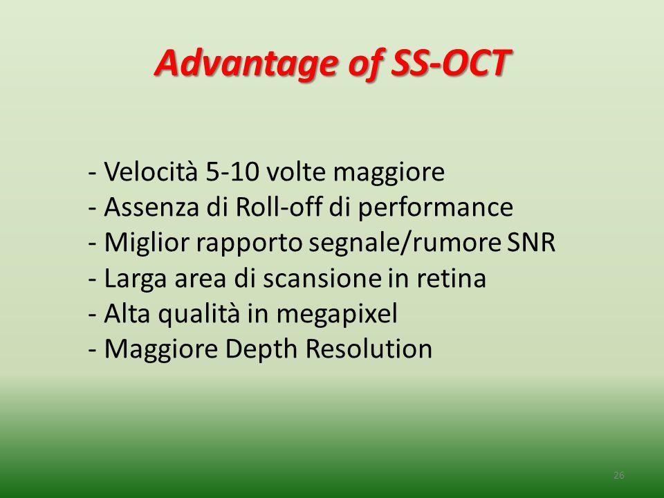 Advantage of SS-OCT 26 - Velocità 5-10 volte maggiore - Assenza di Roll-off di performance - Miglior rapporto segnale/rumore SNR - Larga area di scans