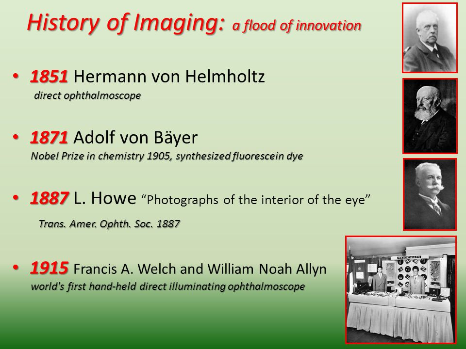 History of Imaging: a flood of innovation 1851 1851 Hermann von Helmholtz direct ophthalmoscope direct ophthalmoscope 1871 1871 Adolf von Bäyer Nobel