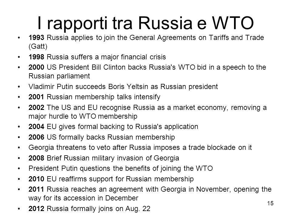 I rapporti tra Russia e WTO 1993 Russia applies to join the General Agreements on Tariffs and Trade (Gatt) 1998 Russia suffers a major financial crisis 2000 US President Bill Clinton backs Russia s WTO bid in a speech to the Russian parliament Vladimir Putin succeeds Boris Yeltsin as Russian president 2001 Russian membership talks intensify 2002 The US and EU recognise Russia as a market economy, removing a major hurdle to WTO membership 2004 EU gives formal backing to Russia s application 2006 US formally backs Russian membership Georgia threatens to veto after Russia imposes a trade blockade on it 2008 Brief Russian military invasion of Georgia President Putin questions the benefits of joining the WTO 2010 EU reaffirms support for Russian membership 2011 Russia reaches an agreement with Georgia in November, opening the way for its accession in December 2012 Russia formally joins on Aug.