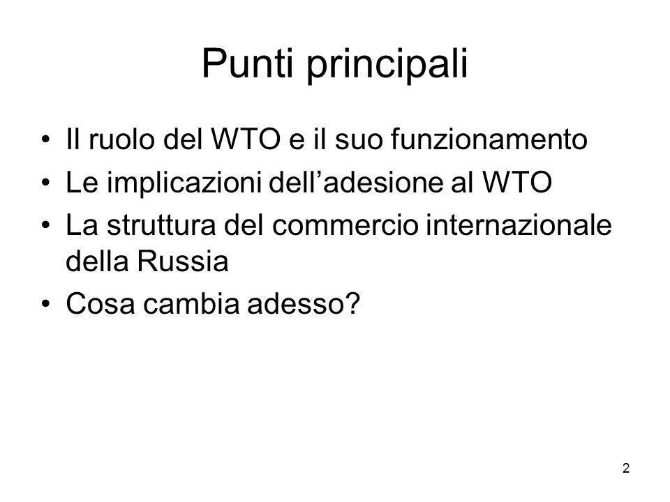 Situazione a un anno e mezzo dall'ingresso Troppo presto per vedere effetti sugli scambi (periodo di transizione di 7 anni) Già alcune controversie sono nate con UE (soprattutto nel settore agricolo, ma anche in altri) Alcuni problemi sollevati da produttori russi che temono la concorrenza Per il momento scarso coinvolgimento della Russia nel WTO e nei negoziati 33