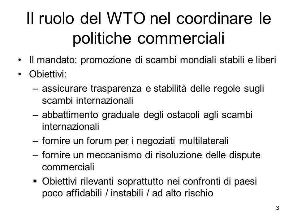 3 Il ruolo del WTO nel coordinare le politiche commerciali Il mandato: promozione di scambi mondiali stabili e liberi Obiettivi: –assicurare trasparenza e stabilità delle regole sugli scambi internazionali –abbattimento graduale degli ostacoli agli scambi internazionali –fornire un forum per i negoziati multilaterali –fornire un meccanismo di risoluzione delle dispute commerciali  Obiettivi rilevanti soprattutto nei confronti di paesi poco affidabili / instabili / ad alto rischio