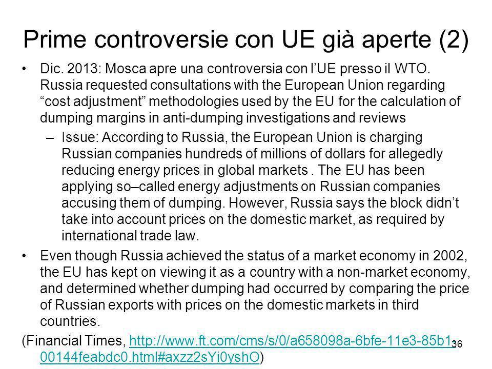 Prime controversie con UE già aperte (2) Dic.