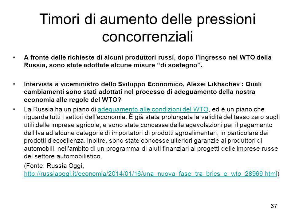 Timori di aumento delle pressioni concorrenziali A fronte delle richieste di alcuni produttori russi, dopo l'ingresso nel WTO della Russia, sono state adottate alcune misure di sostegno .