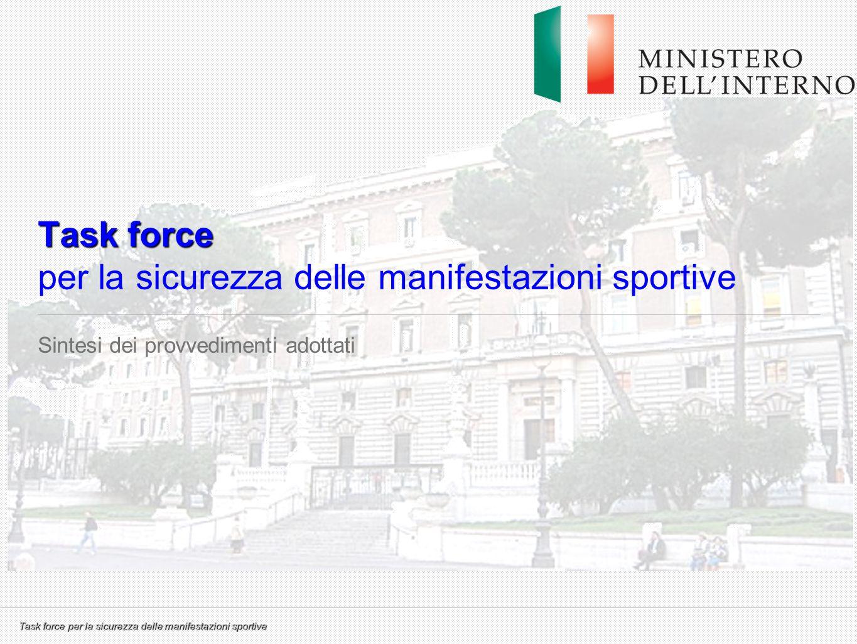 Task force per la sicurezza delle manifestazioni sportive Task force Task force per la sicurezza delle manifestazioni sportive Sintesi dei provvedimen