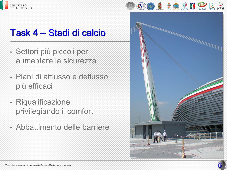 Task force per la sicurezza delle manifestazioni sportive Task 4 – Stadi di calcio Settori più piccoli per aumentare la sicurezza Piani di afflusso e