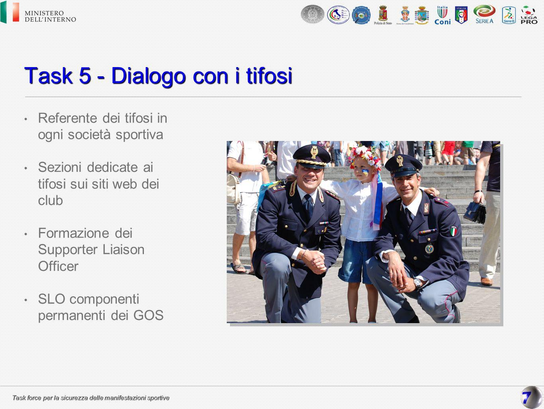 Task force per la sicurezza delle manifestazioni sportive Task 5 - Dialogo con i tifosi Referente dei tifosi in ogni società sportiva Sezioni dedicate
