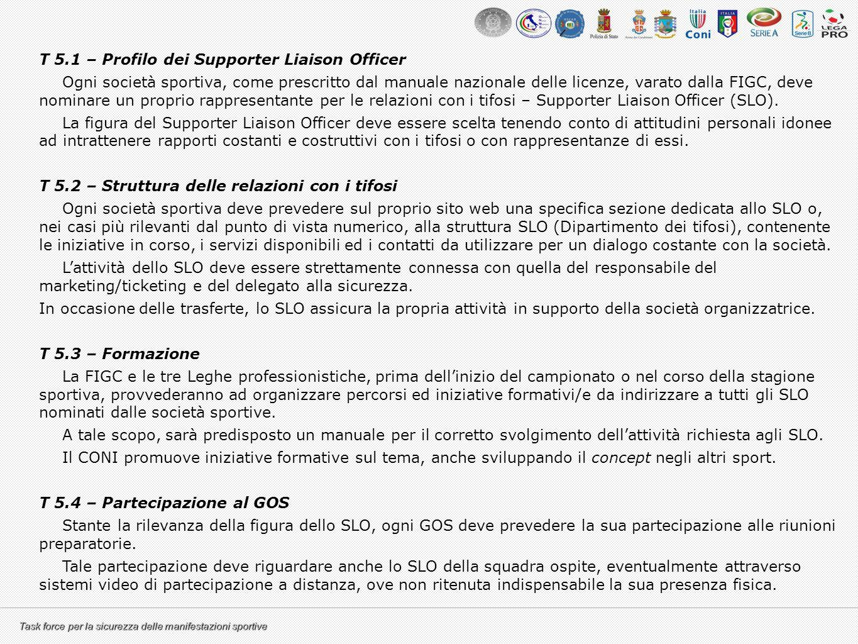 Task force per la sicurezza delle manifestazioni sportive T 5.1 – Profilo dei Supporter Liaison Officer Ogni società sportiva, come prescritto dal man
