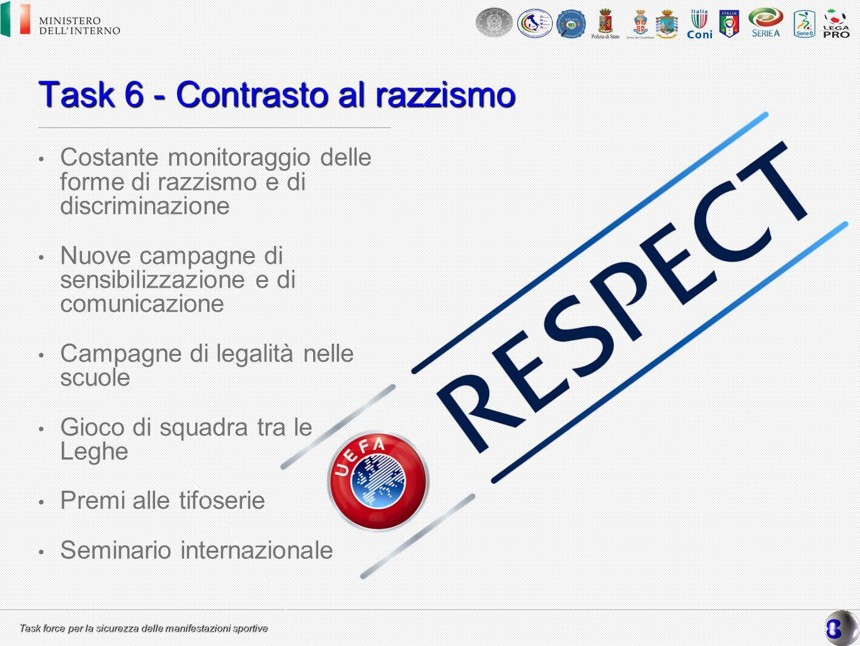 Task force per la sicurezza delle manifestazioni sportive Task 6 - Contrasto al razzismo Costante monitoraggio delle forme di razzismo e di discrimina