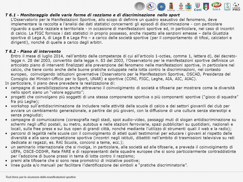 Task force per la sicurezza delle manifestazioni sportive T 6.1 - Monitoraggio delle varie forme di razzismo e di discriminazione nello sport L'Osserv