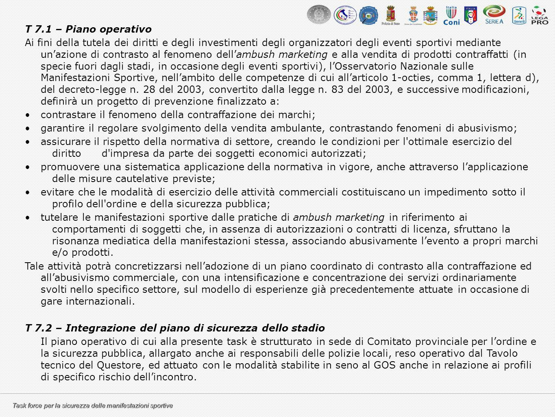 Task force per la sicurezza delle manifestazioni sportive T 7.1 – Piano operativo Ai fini della tutela dei diritti e degli investimenti degli organizz
