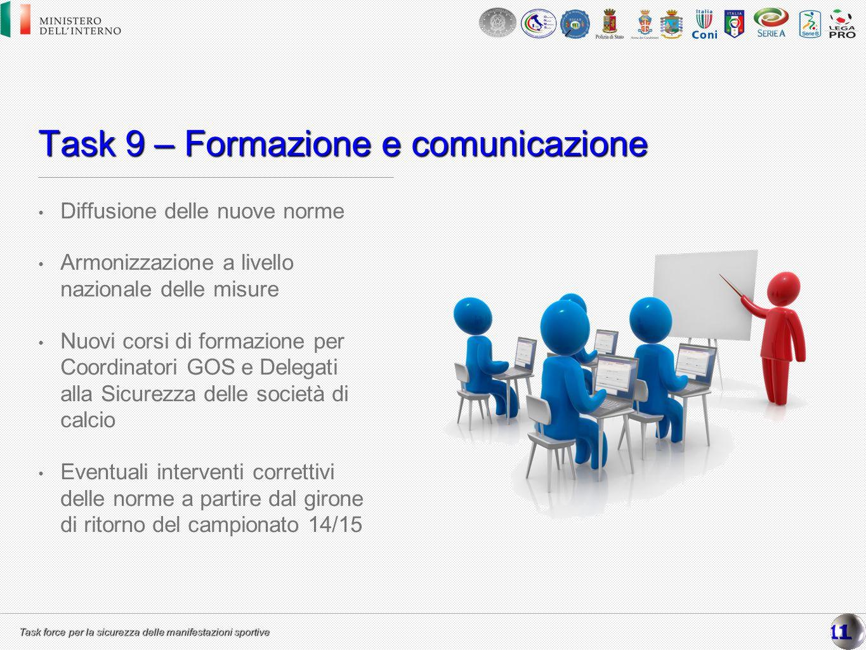 Task force per la sicurezza delle manifestazioni sportive Task 9 – Formazione e comunicazione Diffusione delle nuove norme Armonizzazione a livello na