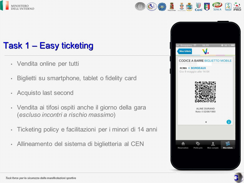 Task force per la sicurezza delle manifestazioni sportive Task 1 – Easy ticketing Vendita online per tutti Biglietti su smartphone, tablet o fidelity