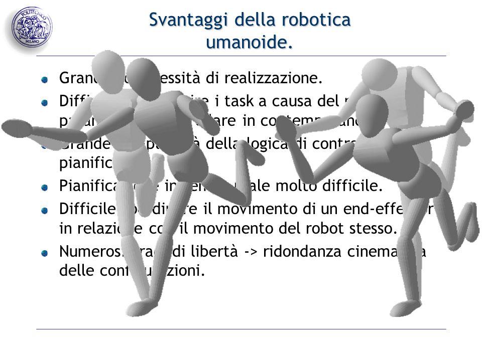 Svantaggi della robotica umanoide. Grande complessità di realizzazione.