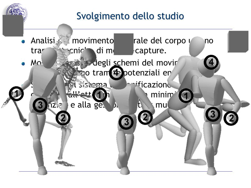 Svolgimento dello studio Analisi del movimento naturale del corpo umano tramite tecniche di motion-capture.