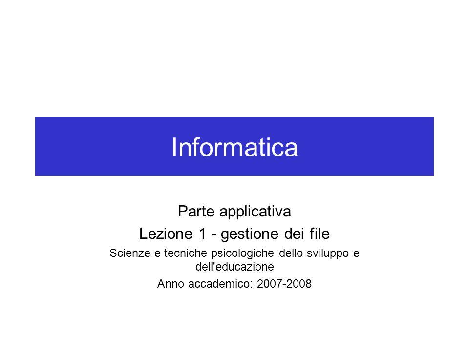 Informatica Parte applicativa Lezione 1 - gestione dei file Scienze e tecniche psicologiche dello sviluppo e dell'educazione Anno accademico: 2007-200