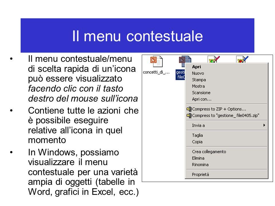 Il menu contestuale Il menu contestuale/menu di scelta rapida di un'icona può essere visualizzato facendo clic con il tasto destro del mouse sull'icon