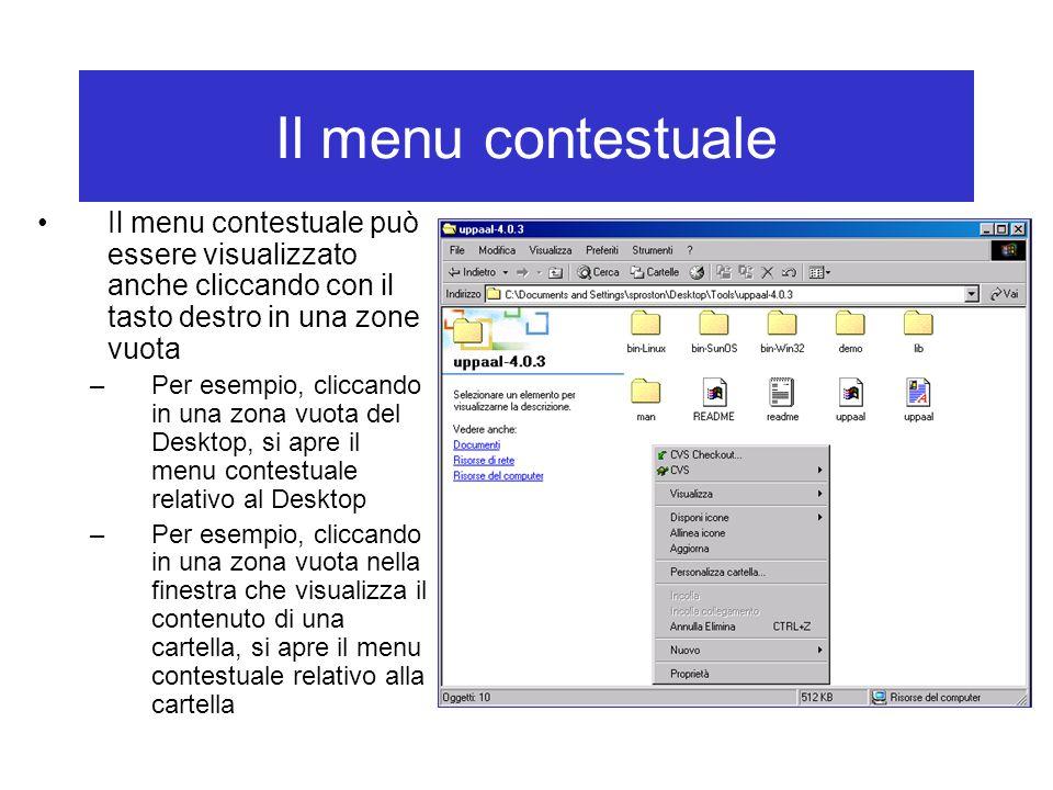 Il menu contestuale Il menu contestuale può essere visualizzato anche cliccando con il tasto destro in una zone vuota –Per esempio, cliccando in una z