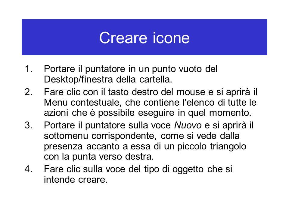 Creare icone 1.Portare il puntatore in un punto vuoto del Desktop/finestra della cartella. 2.Fare clic con il tasto destro del mouse e si aprirà il Me