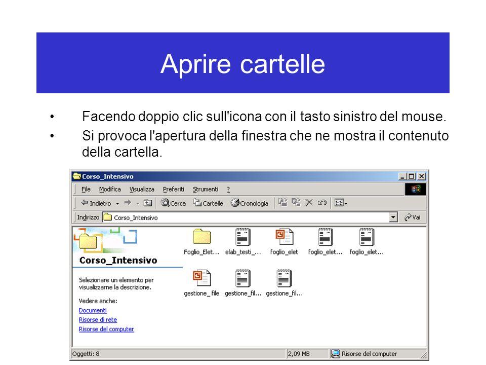 Aprire cartelle Facendo doppio clic sull'icona con il tasto sinistro del mouse. Si provoca l'apertura della finestra che ne mostra il contenuto della