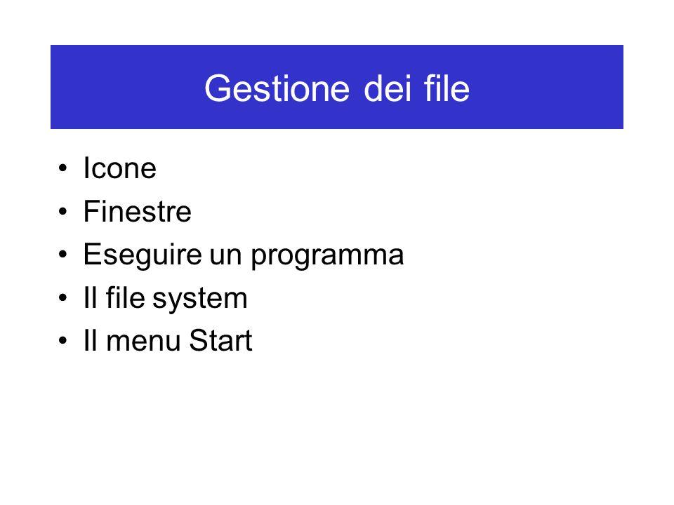 Le varie parti di una finestra di lavoro I tre pulsante di gestione della finestra: riduzione a icona, ingrandimento a intero video/ripristino, chiusura del programma.