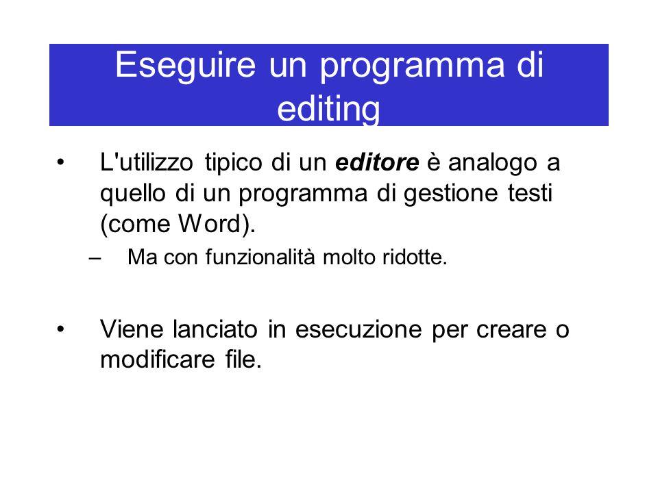 Eseguire un programma di editing L'utilizzo tipico di un editore è analogo a quello di un programma di gestione testi (come Word). –Ma con funzionalit