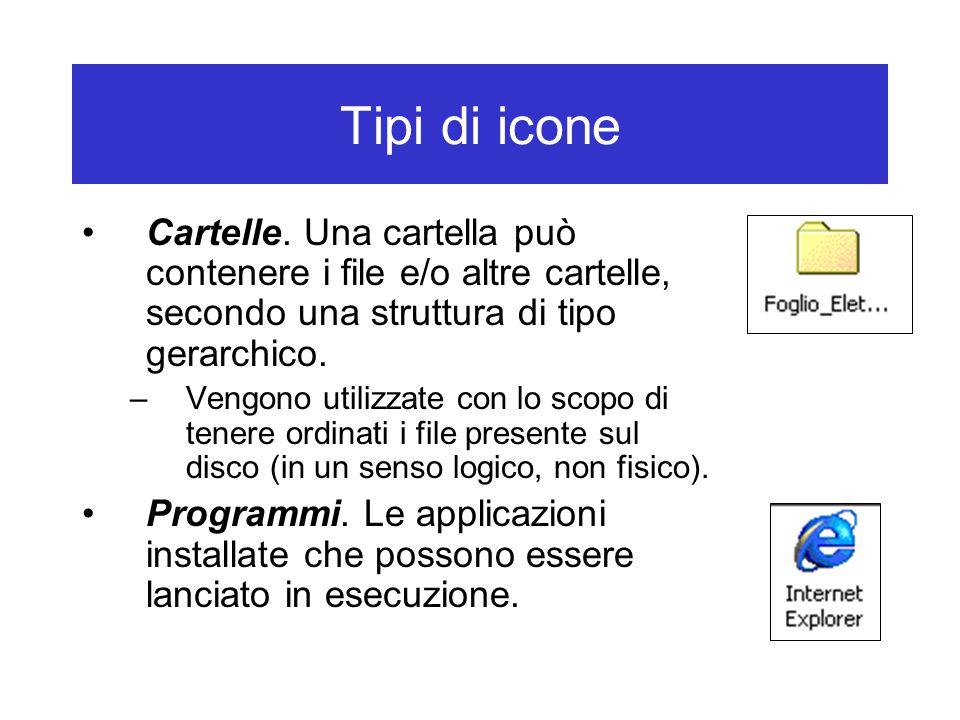 Tipi di icone Cartelle. Una cartella può contenere i file e/o altre cartelle, secondo una struttura di tipo gerarchico. –Vengono utilizzate con lo sco