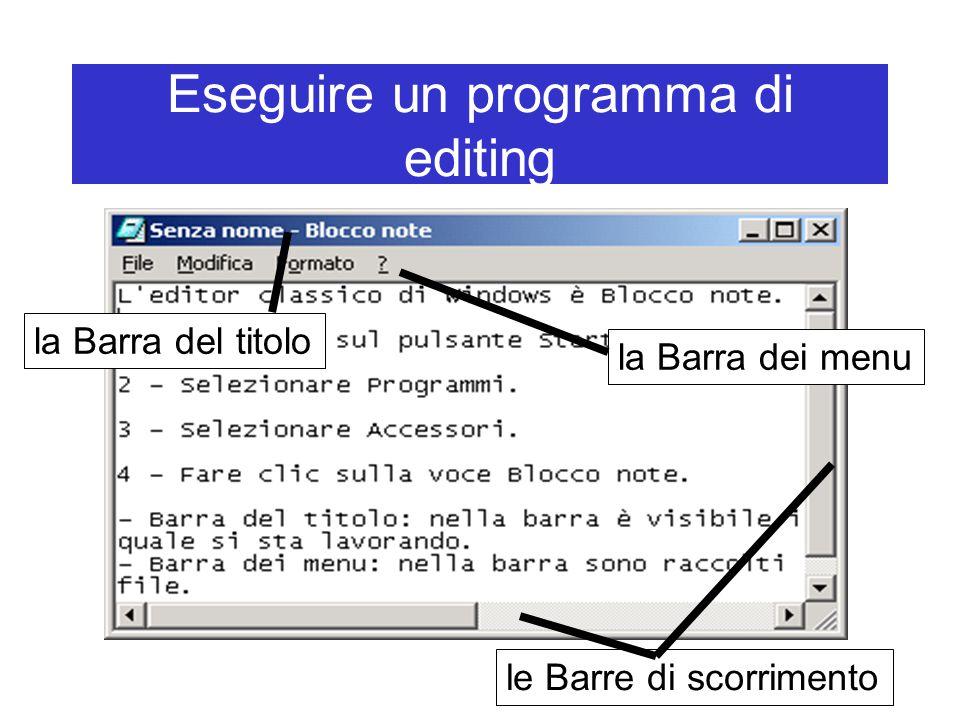Eseguire un programma di editing la Barra del titolo la Barra dei menu le Barre di scorrimento