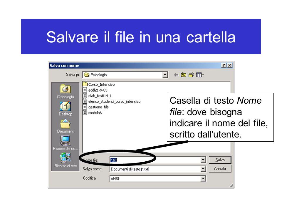 Salvare il file in una cartella Casella di testo Nome file: dove bisogna indicare il nome del file, scritto dall'utente.
