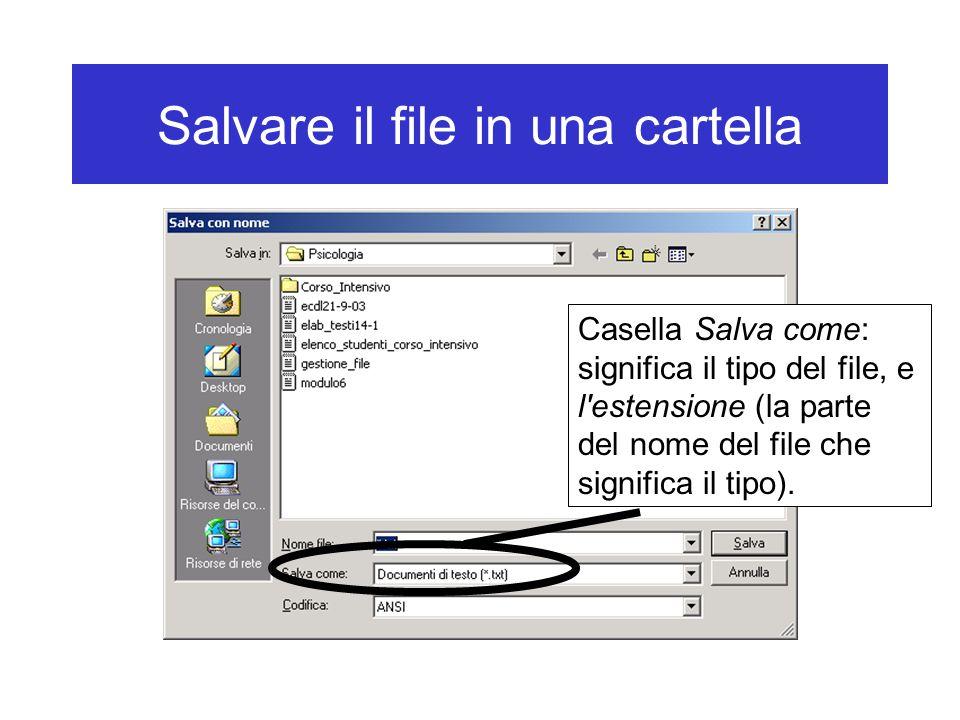 Salvare il file in una cartella Casella Salva come: significa il tipo del file, e l'estensione (la parte del nome del file che significa il tipo).