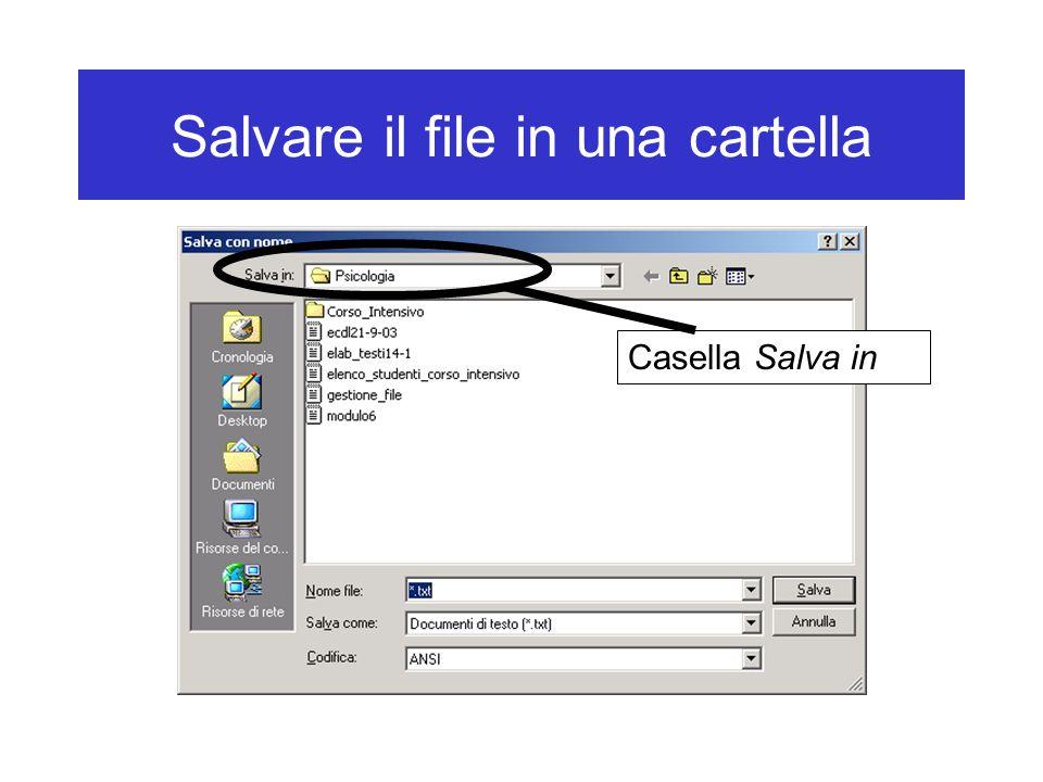 Salvare il file in una cartella Casella Salva in