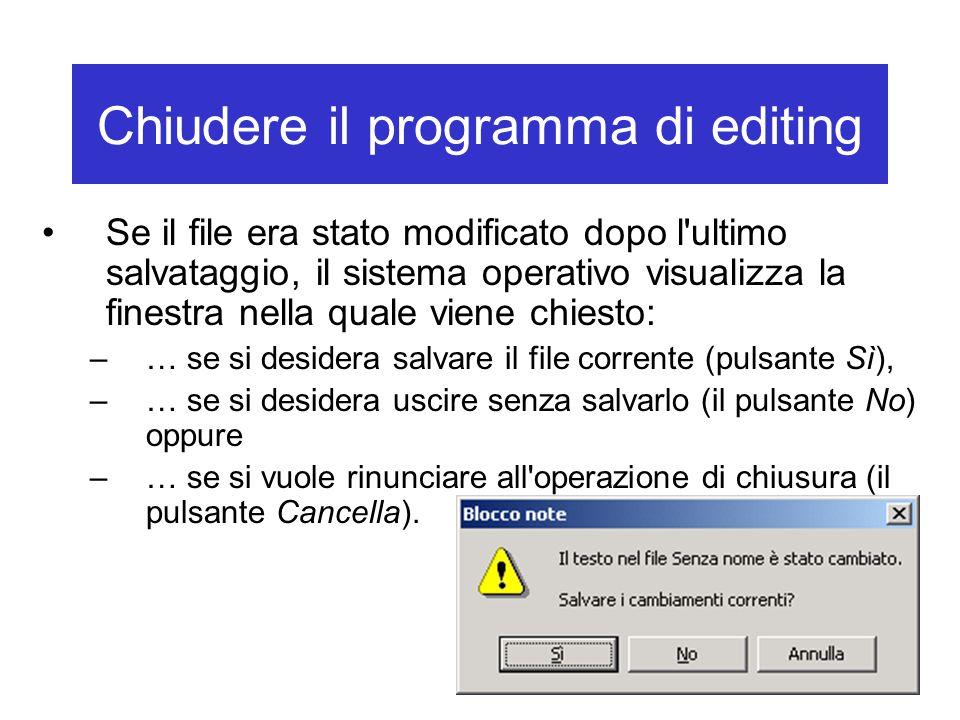 Chiudere il programma di editing Se il file era stato modificato dopo l'ultimo salvataggio, il sistema operativo visualizza la finestra nella quale vi