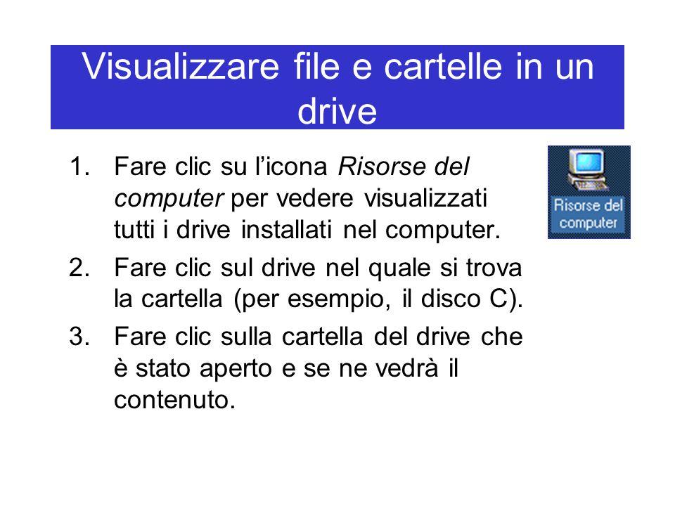 Visualizzare file e cartelle in un drive 1.Fare clic su l'icona Risorse del computer per vedere visualizzati tutti i drive installati nel computer. 2.