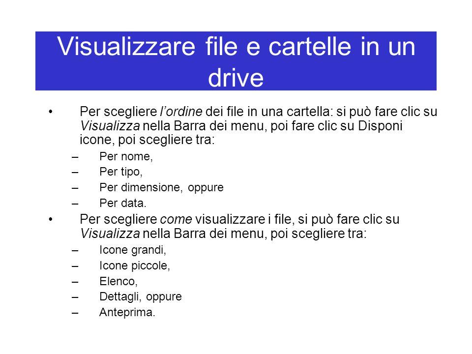 Visualizzare file e cartelle in un drive Per scegliere l'ordine dei file in una cartella: si può fare clic su Visualizza nella Barra dei menu, poi far