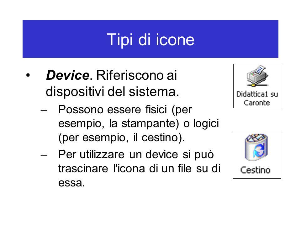Tipi di icone Device. Riferiscono ai dispositivi del sistema. –Possono essere fisici (per esempio, la stampante) o logici (per esempio, il cestino). –