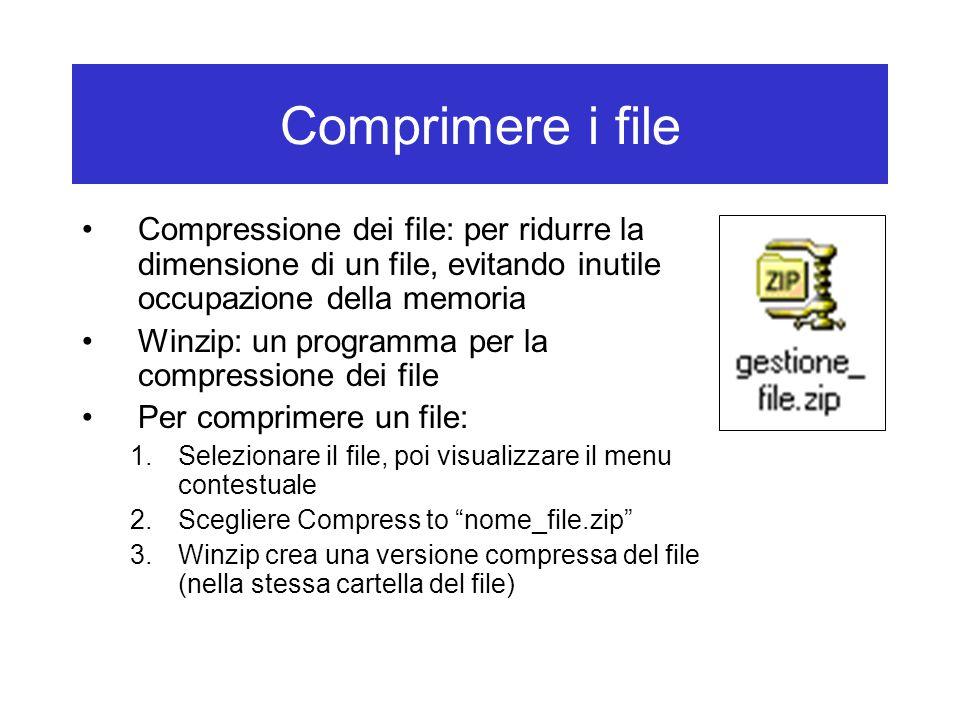 Comprimere i file Compressione dei file: per ridurre la dimensione di un file, evitando inutile occupazione della memoria Winzip: un programma per la