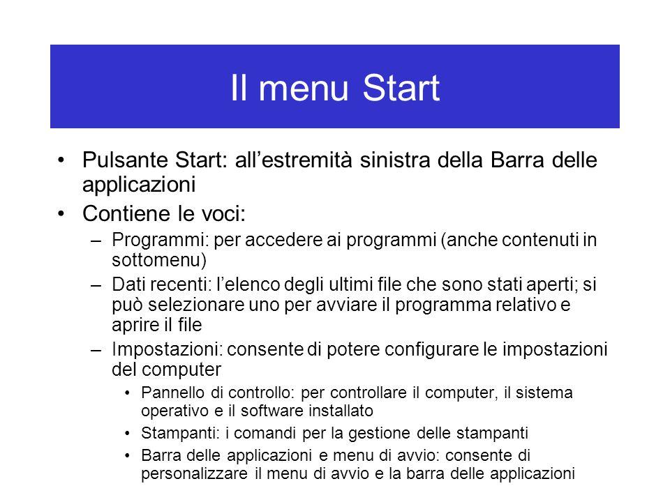 Pulsante Start: all'estremità sinistra della Barra delle applicazioni Contiene le voci: –Programmi: per accedere ai programmi (anche contenuti in sott