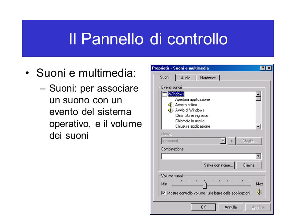 Il Pannello di controllo Suoni e multimedia: –Suoni: per associare un suono con un evento del sistema operativo, e il volume dei suoni