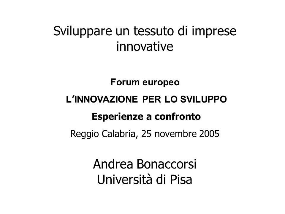 Sviluppare un tessuto di imprese innovative Forum europeo L ' INNOVAZIONE PER LO SVILUPPO Esperienze a confronto Reggio Calabria, 25 novembre 2005 Andrea Bonaccorsi Università di Pisa