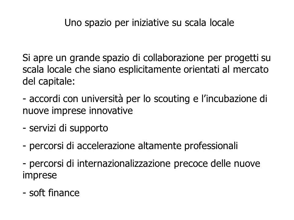 Uno spazio per iniziative su scala locale Si apre un grande spazio di collaborazione per progetti su scala locale che siano esplicitamente orientati al mercato del capitale: - accordi con università per lo scouting e l'incubazione di nuove imprese innovative - servizi di supporto - percorsi di accelerazione altamente professionali - percorsi di internazionalizzazione precoce delle nuove imprese - soft finance