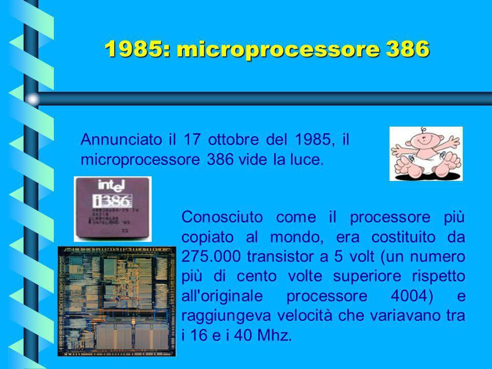 1982: microprocessore 286 Con il 286, il PC esce dalla categoria dei sistemi batch (sistemi che eseguono vari lavori in sequenza) per entrare a fare p