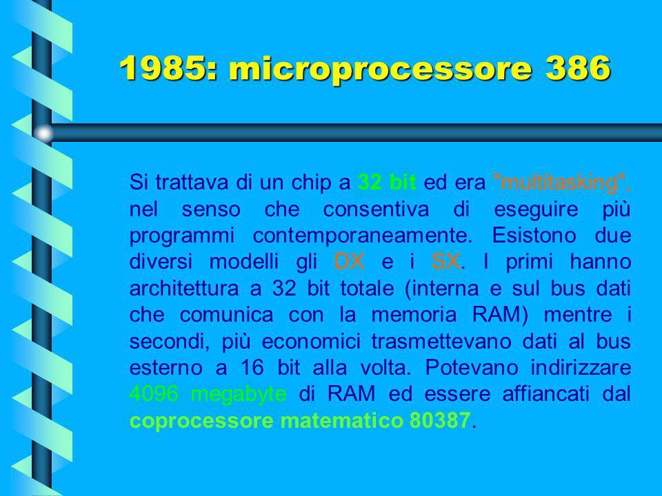 1985: microprocessore 386 Conosciuto come il processore più copiato al mondo, era costituito da 275.000 transistor a 5 volt (un numero più di cento vo