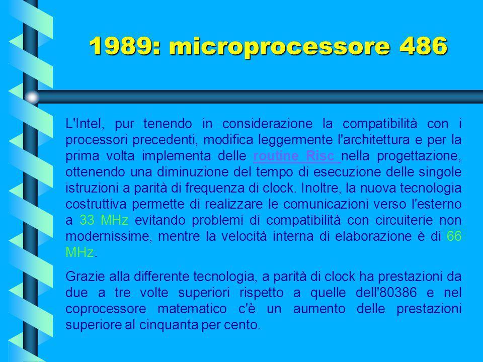 Il microprocessore 486 fu il primo ad offrire 8 Kbyte di cache di primo livello e un'unità per il calcolo in virgola mobile, quest'ultima basata su un