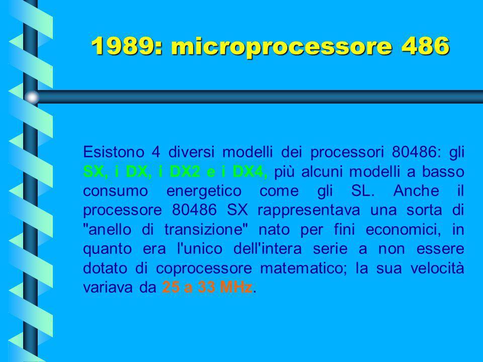 Il suo chip, in versione originale (486 DX), comprendeva 1.185.000 transistor alimentati a 5 volt e usava 168 piedini. 1989: microprocessore 486 Intel